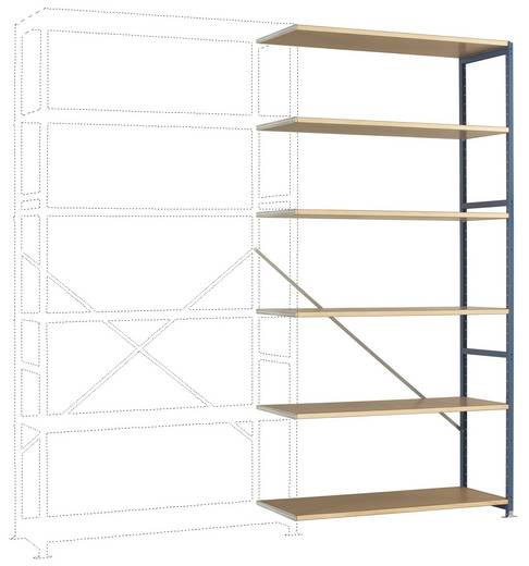 Fachbodenregal-Anbaumodul (B x H x T) 1220 x 2500 x 1000 mm Stahl pulverbeschichtet Licht-Grau Holzboden Manuflex RP1433