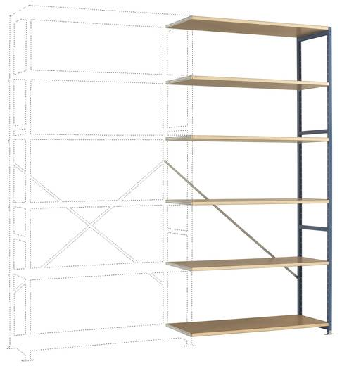 Fachbodenregal-Anbaumodul (B x H x T) 1220 x 2500 x 600 mm Stahl pulverbeschichtet Licht-Grau Holzboden Manuflex RP1428.
