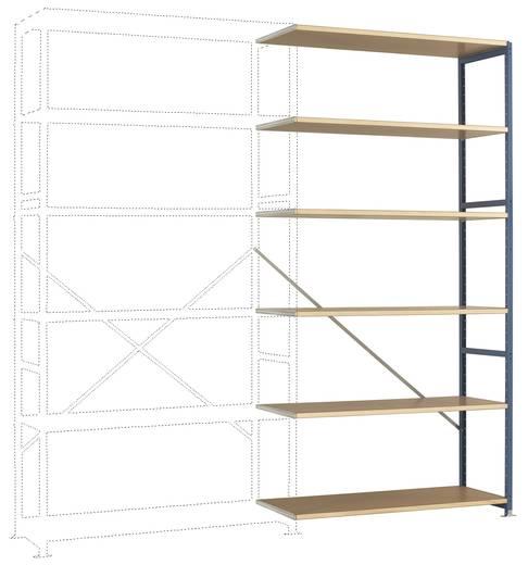 Fachbodenregal-Anbaumodul (B x H x T) 1220 x 2500 x 800 mm Stahl pulverbeschichtet Brillant-Blau Holzboden Manuflex RP1429.5007