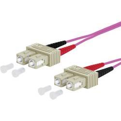 Optické vlákno LWL prepojovací kábel Metz Connect 151S1EOEO10E [2x zástrčka SC - 2x zástrčka SC], 1.00 m, fialová