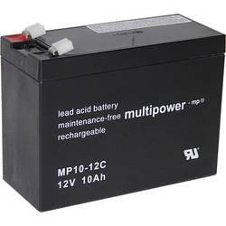 Olovený akumulátor multipower PB-12-10-6,35 MP10-12C, 10 Ah, 12 V