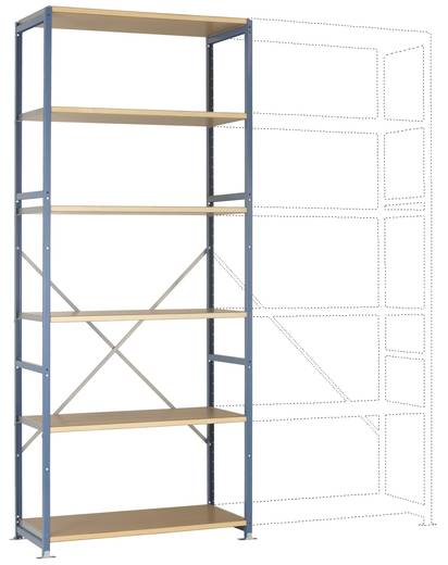 Fachbodenregal-Grundmodul (B x H x T) 970 x 2000 x 600 mm Stahl pulverbeschichtet Licht-Blau Holzboden Manuflex RP1313.5