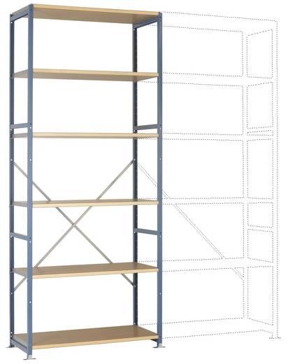 Fachbodenregal-Grundmodul (B x H x T) 970 x 2000 x 600 mm Stahl pulverbeschichtet Licht-Grau Holzboden Manuflex RP1313.7035