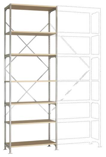 Fachbodenregal-Grundmodul (B x H x T) 1470 x 3000 x 800 mm Stahl verzinkt Verzinkt Holzboden Manuflex RM4234
