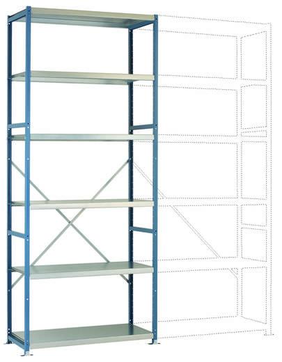 Fachbodenregal-Grundmodul (B x H x T) 970 x 2000 x 500 mm Stahl pulverbeschichtet Licht-Blau Metallboden Manuflex RP1321