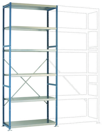 Fachbodenregal-Grundmodul (B x H x T) 970 x 2500 x 600 mm Stahl pulverbeschichtet Brillant-Blau Metallboden Manuflex RP1320.5007