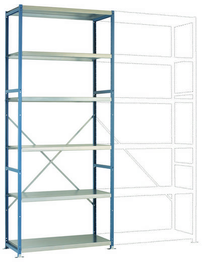 Fachbodenregal-Grundmodul (B x H x T) 970 x 2500 x 600 mm Stahl pulverbeschichtet Licht-Blau Metallboden Manuflex RP1320.5012