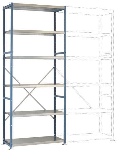 Manuflex RP1318.5012 Fachbodenregal-Grundmodul (B x H x T) 970 x 2500 x 400 mm Stahl pulverbeschichtet Licht-Blau Metall
