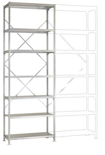 Fachbodenregal-Grundmodul (B x H x T) 970 x 3000 x 400 mm Stahl pulverbeschichtet Licht-Grau Metallboden Manuflex RP2145