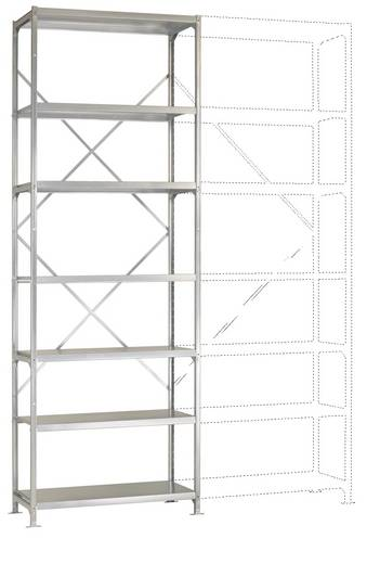 Fachbodenregal-Grundmodul (B x H x T) 970 x 3000 x 400 mm Stahl verzinkt Verzinkt Metallboden Manuflex RB2400