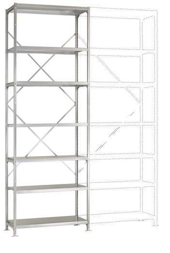 Fachbodenregal-Grundmodul (B x H x T) 970 x 3000 x 600 mm Stahl pulverbeschichtet Licht-Grau Metallboden Manuflex RP2133.7035