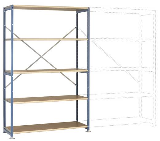 Fachbodenregal-Grundmodul (B x H x T) 970 x 2000 x 500 mm Stahl pulverbeschichtet Brillant-Blau Holzboden Manuflex RP102