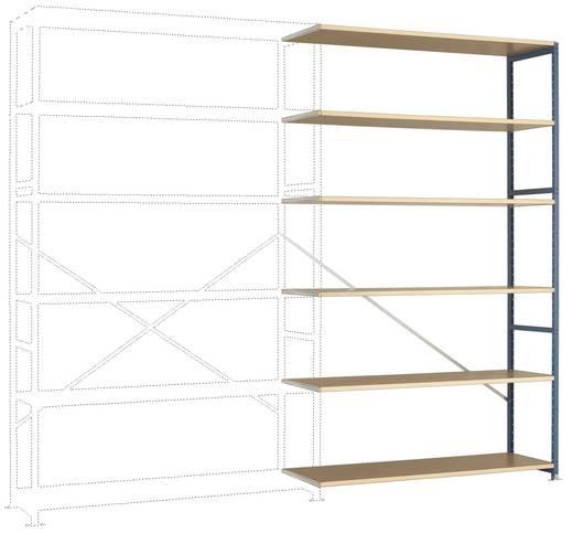 Fachbodenregal-Anbaumodul (B x H x T) 1470 x 2500 x 400 mm Stahl pulverbeschichtet Licht-Grau Holzboden Manuflex RP1441.