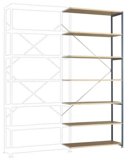 Fachbodenregal-Anbaumodul (B x H x T) 1220 x 3000 x 600 mm Stahl pulverbeschichtet Grau-Grün Holzboden Manuflex RP1728.0