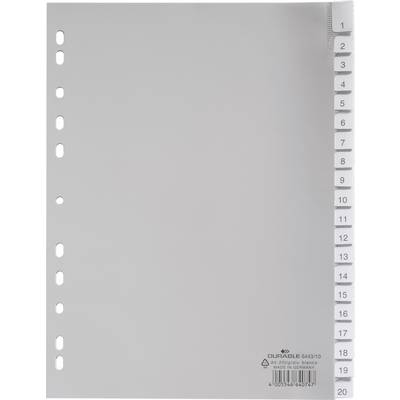 Durable Register 6443 DIN A4 1-20 Polypropylen Grau 20 Registerblätter umschweißte Taben,  Preisvergleich