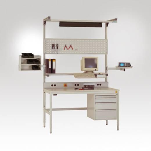 Manuflex LZ8236.7035 Schwenkarm Ablageboard 570x370mm mit Doppelgelenk für ALU Tisch RAL7035 lichtgrau leitfähig