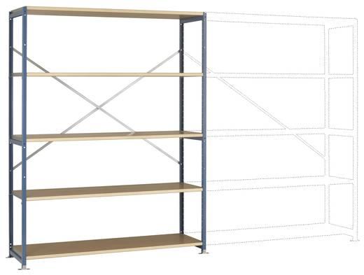Fachbodenregal-Grundmodul (B x H x T) 1470 x 2000 x 600 mm Stahl pulverbeschichtet Grau-Grün Holzboden Manuflex RP1043.0