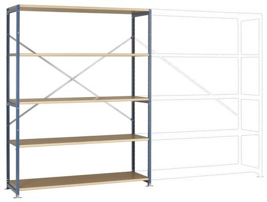 Fachbodenregal-Grundmodul (B x H x T) 1470 x 2000 x 600 mm Stahl pulverbeschichtet Licht-Grau Holzboden Manuflex RP1043.7035