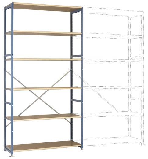 Fachbodenregal-Grundmodul (B x H x T) 1220 x 2500 x 800 mm Stahl pulverbeschichtet Licht-Grau Holzboden Manuflex RP1329.7035