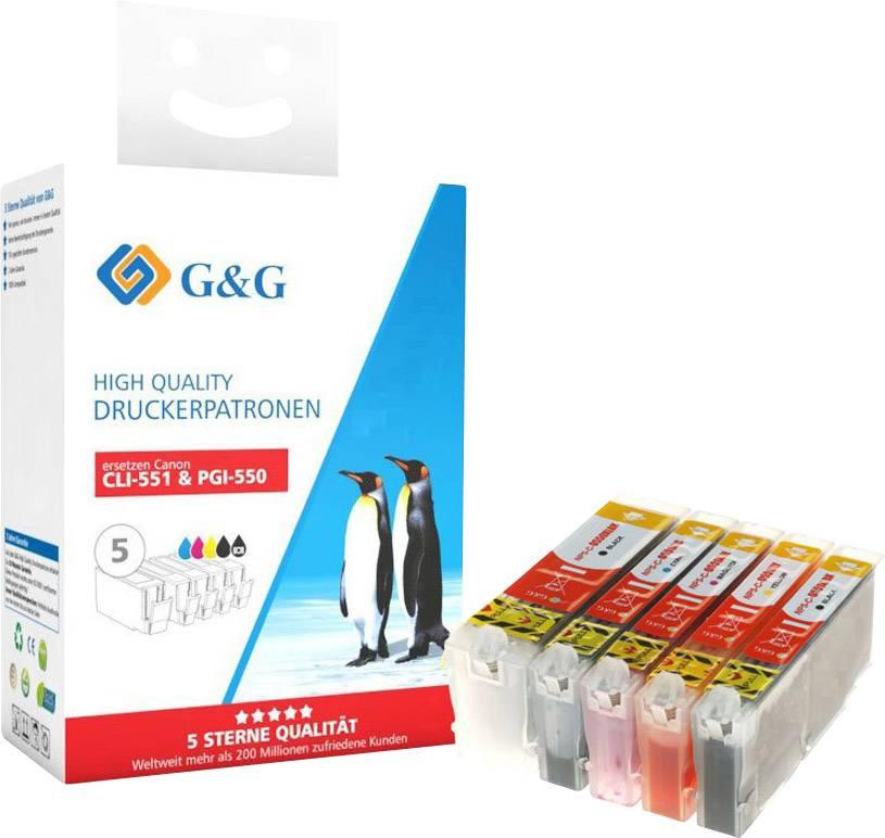 5 XL für Canon PGI-550BK CLI-551 Schwarz//Cyan//Magenta//Gelb Tintenpatronen