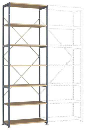 Fachbodenregal-Grundmodul (B x H x T) 970 x 3000 x 500 mm Stahl pulverbeschichtet Licht-Grau Holzboden Manuflex RP1612.7035