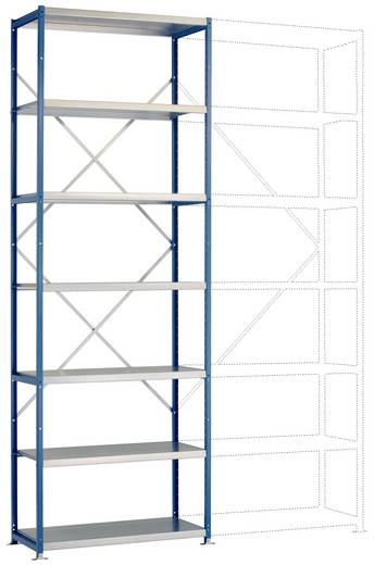 Fachbodenregal-Grundmodul (B x H x T) 970 x 2500 x 600 mm Stahl pulverbeschichtet Licht-Grau Metallboden Manuflex RP1620