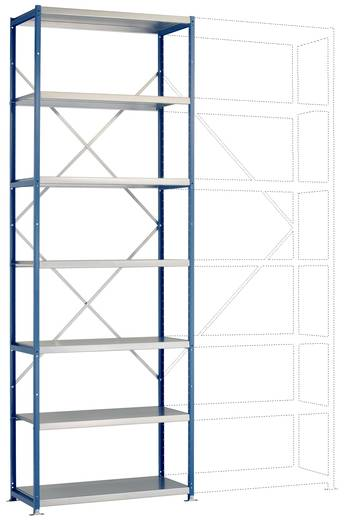 Fachbodenregal-Grundmodul (B x H x T) 970 x 3000 x 600 mm Stahl pulverbeschichtet Licht-Blau Metallboden Manuflex RP1624
