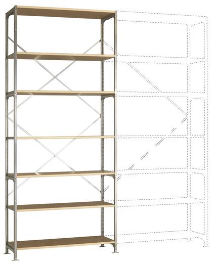 Fachbodenregal-Grundmodul (B x H x T) 1220 x 3000 x 500 mm Stahl verzinkt Verzinkt Holzboden Manuflex RM2236