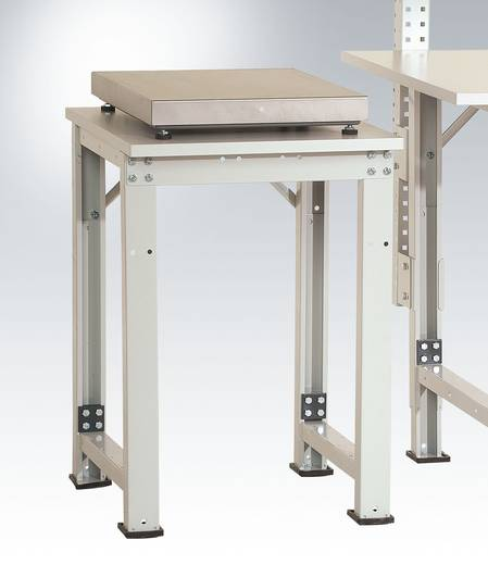 Manuflex AS1097.0001 Pack-Beistelltisch SPEZIAL für Tischwaage, m. Teleskop -Klemmschrauben- Höhenverstellung 722-1022mm Platte Kunst.lichtgrau 500x600x22mm graugrün