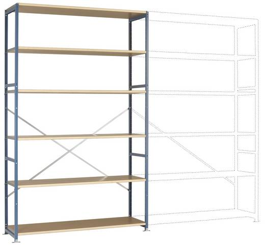 Fachbodenregal-Grundmodul (B x H x T) 1470 x 2500 x 400 mm Stahl pulverbeschichtet Brillant-Blau Holzboden Manuflex RP13