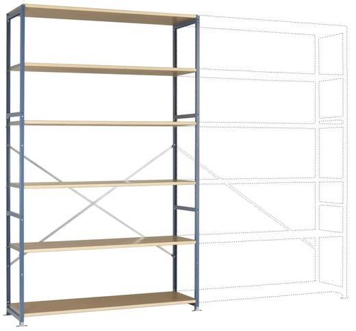 Fachbodenregal-Grundmodul (B x H x T) 1470 x 2500 x 600 mm Stahl pulverbeschichtet Licht-Blau Holzboden Manuflex RP1343.