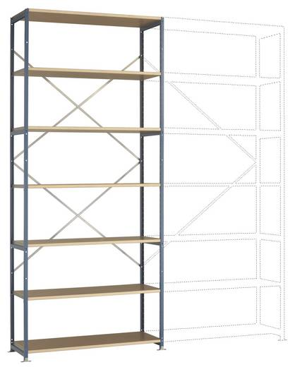 Fachbodenregal-Grundmodul (B x H x T) 1220 x 3000 x 600 mm Stahl pulverbeschichtet Licht-Grau Holzboden Manuflex RP1628.