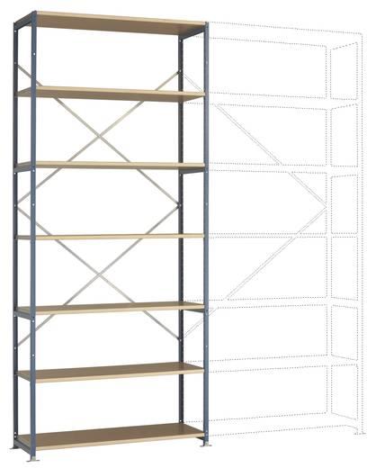 Fachbodenregal-Grundmodul (B x H x T) 1220 x 3000 x 800 mm Stahl pulverbeschichtet Grau-Grün Holzboden Manuflex RP1629.0