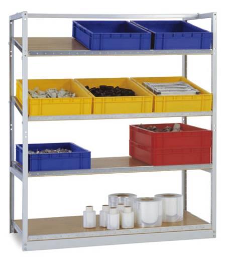 Schrägbodenregal (B x H x T) 970 x 1490 x 610 mm Stahl pulverbeschichtet Licht-Grau Holzboden Manuflex RP2100.7035
