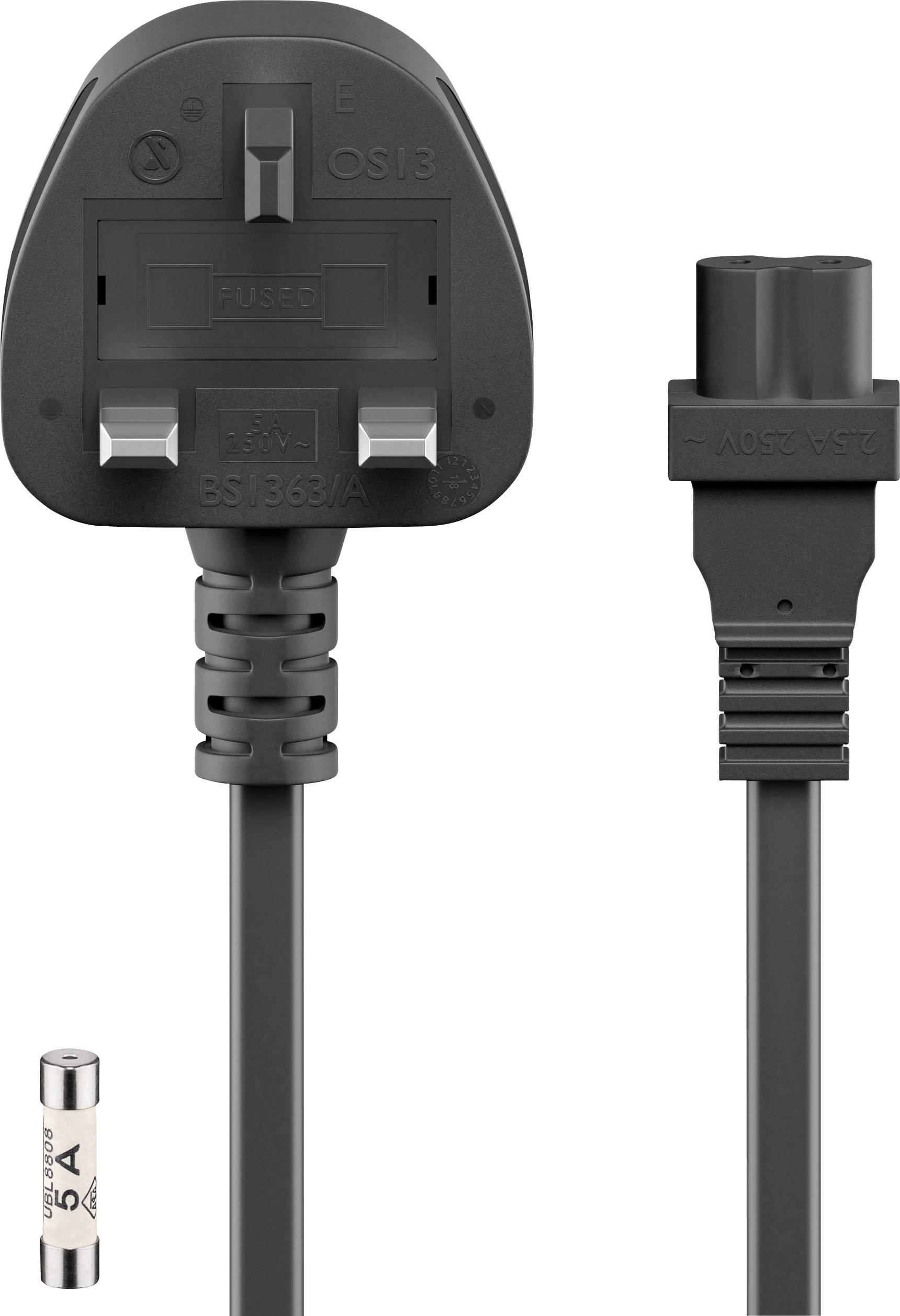 Goobay Y001//ST2 Strom Netzkabel  Schwarz 1.50 m