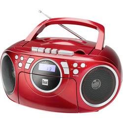FM rádio s CD prehrávačom Dual P 70, AUX, CD, kazeta, UKW, červená