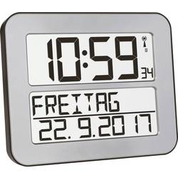 DCF nástenné hodiny TFA Dostmann TimeLine MAX 60.4512.54, strieborná, čierna