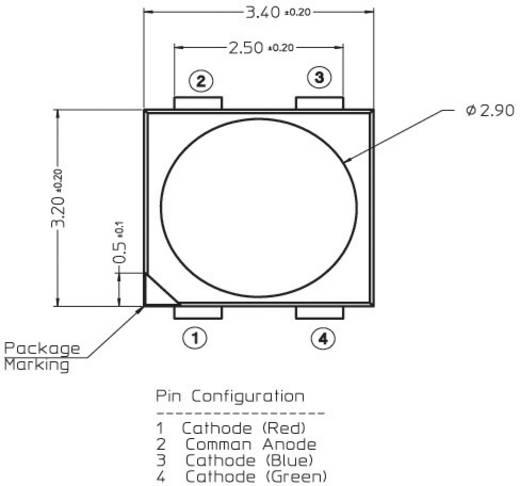 SMD-LED mehrfarbig PLCC4 Rot, Grün, Blau 620 mcd, 1200 mcd, 280 mcd 120 ° 20 mA, 20 mA, 20 mA 2.1 V, 3.2 V, 3.2 V Broadcom ASMT-QTB4-0AA02