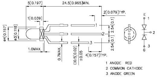 Kingbright L-115WEGW LED mehrfarbig Rot, Grün Rund 3 mm 40 mcd, 35 mcd 60 ° 20 mA 2 V, 2.2 V