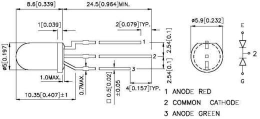 LED mehrfarbig Rot, Grün Rund 5 mm 60 mcd, 50 mcd 60 ° 20 mA 2 V, 2.2 V Kingbright L-59EGW