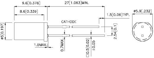 LED bedrahtet Rot Zylindrisch 5 mm 1 mcd 100 ° 20 mA 2.25 V Kingbright L-483HDT
