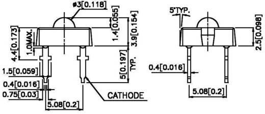 LED bedrahtet Rot Rechteckig 7.6 x 7.6 mm 70 ° 70 mA 2.3 V Kingbright L-7679C1SURC-G