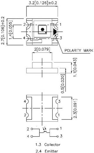 Lichtsensor Kingbright KPS-3227SP1C SMD 1 St. (L x B x H) 3.2 x 2.7 x 1.1 mm Tape cut, re-reeling option