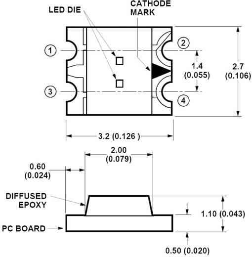 SMD-LED mehrfarbig Sonderform Rot, Grün 10 mcd, 15 mcd 170 ° 20 mA, 20 mA 2.1 V, 2.2 V Broadcom HSMF-C155