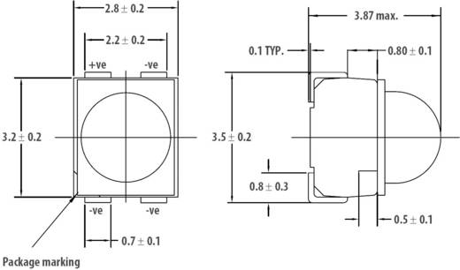 SMD-LED PLCC4 Orange 4500 mcd 30 ° 50 mA 2.2 V Broadcom HSML-A431-X90M1