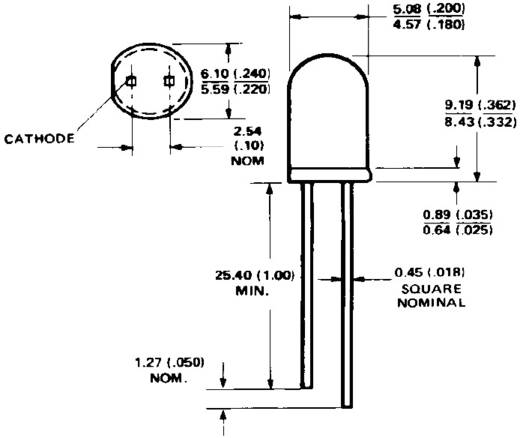 Broadcom HLMP-4700 LED bedrahtet Rot Rund 5 mm 2.3 mcd 50 ° 2 mA 1.7 V