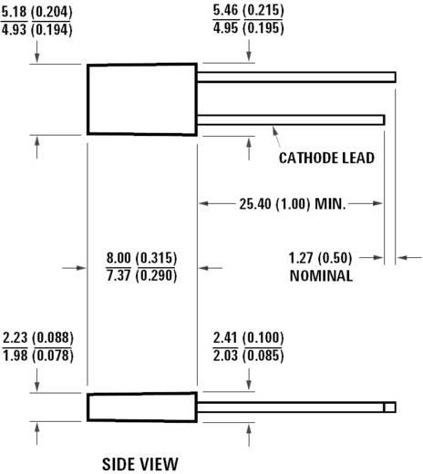 Broadcom HLMP-S201 LED bedrahtet Rot Rechteckig 2 x 5 mm 7.5 mcd 110 ° 20 mA 1.9 V
