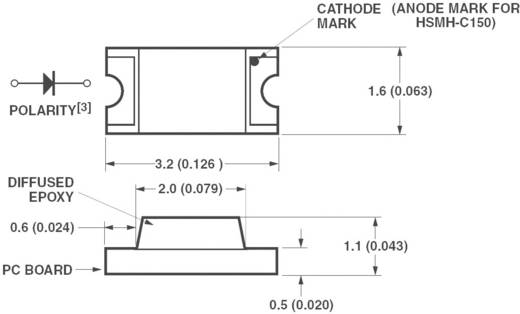 SMD-LED 1206 Amber 90 mcd 170 ° 20 mA 1.9 V Broadcom HSMA-C150