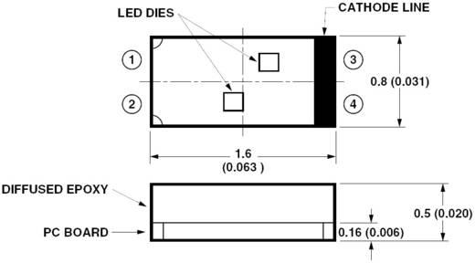 SMD-LED mehrfarbig Sonderform Amber, Blau 35 mcd, 10 mcd 120 ° 10 mA, 10 mA 1.8 V, 3.4 V Broadcom HSMF-C169