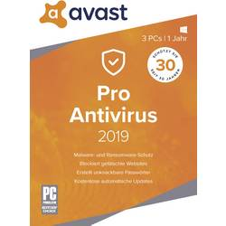 Image of avast PRO Anti Virus 2019 Vollversion, 3 Lizenzen Windows Antivirus